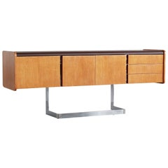 Oak and Chrome Credenza by Ste-Marie and Laurent