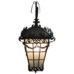 Monumental 19th Century Italian Regency Style Wrought Iron Lantern