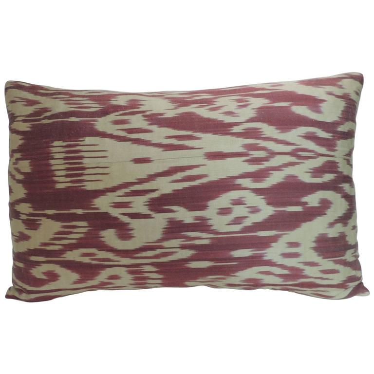 Natural Decorative Pillow : Vintage Fuschia and Natural Silk Ikat Bolster Decorative Pillow For Sale at 1stdibs