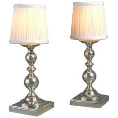 Early 20th Century Pair of Silvered Table Lamps