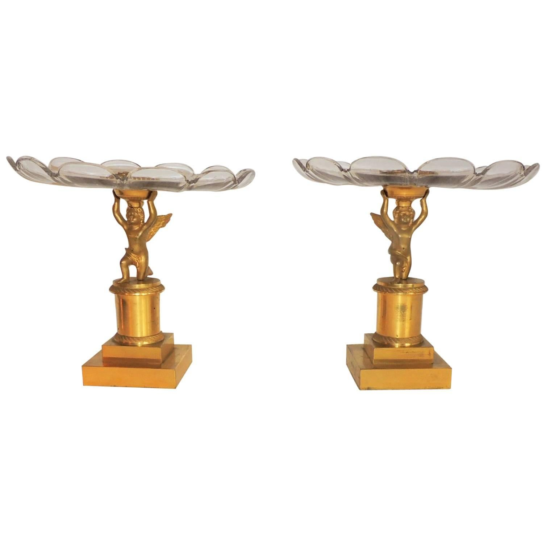 Wonderful Pair Dore Bronze Cherubs Putti Scalloped Crystal Compotes Centerpieces