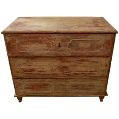19th Century European Original Painted Three-Drawer Chest from Germany