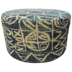 African Blue and Natural Antique Textile Upholstered Round Ottoman