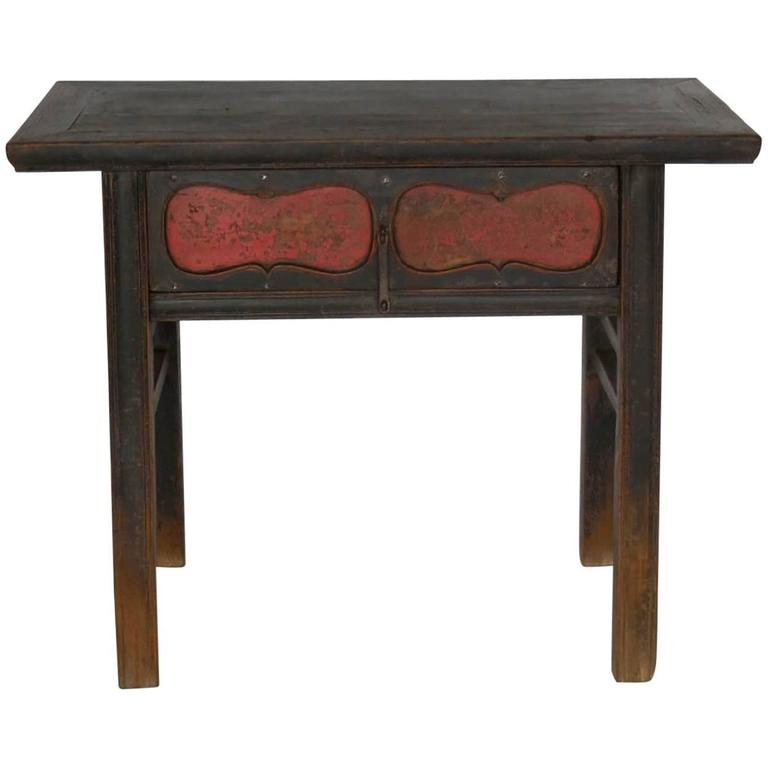 Qing Dynasty Painted Console with Drawer