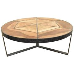 Hand-Forged Iron Coffee Table with Wood Inset from Spain