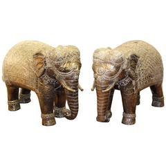 Pair of Silver Indian Elephant Sculptures