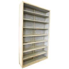 Spanish Open Shelf Painted Bookcase Made with Reclaimed Wood