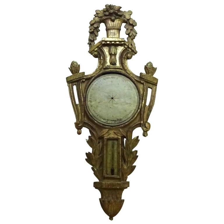 Louis XVI Painted and Giltwood Barometer