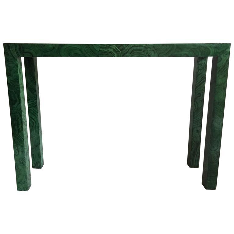 Faux Malachite Parsons Console Table For Sale