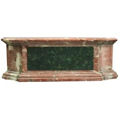 Antique French Rouge Marble Sculpture Plinth with Green Marble Panels