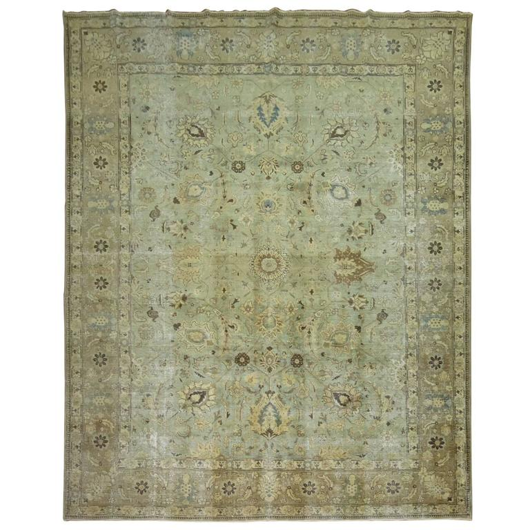 Shabby Chic Persian Tabriz Carpet For Sale