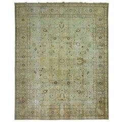 Mint Green Shabby Chic Persian Tabriz Carpet