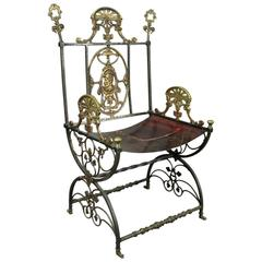 Antique Neoclassical Roman Wrought Iron & Bronze Throne or Curule Chair