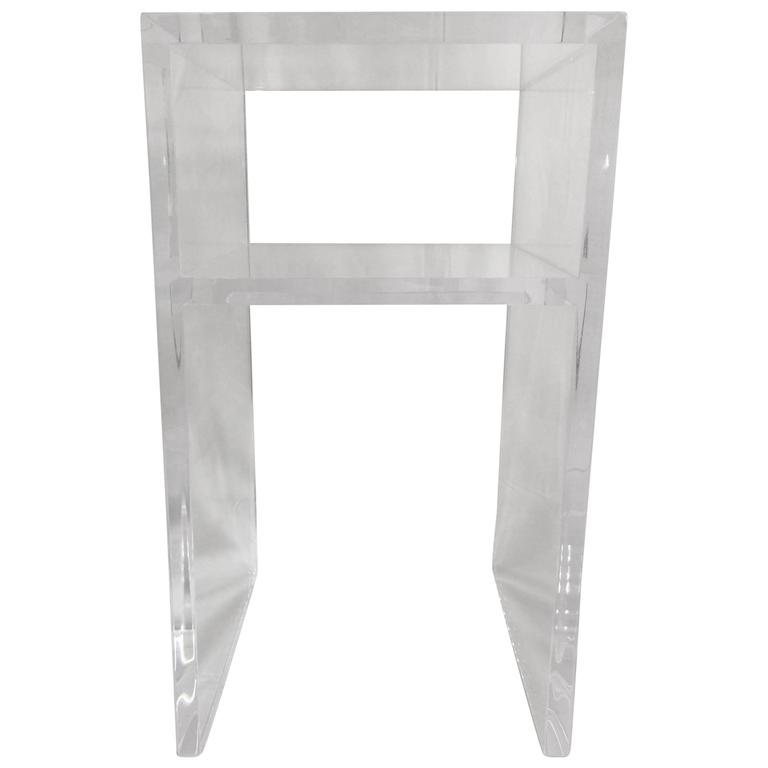 Custom Lucite Side Table with Shelf For Sale