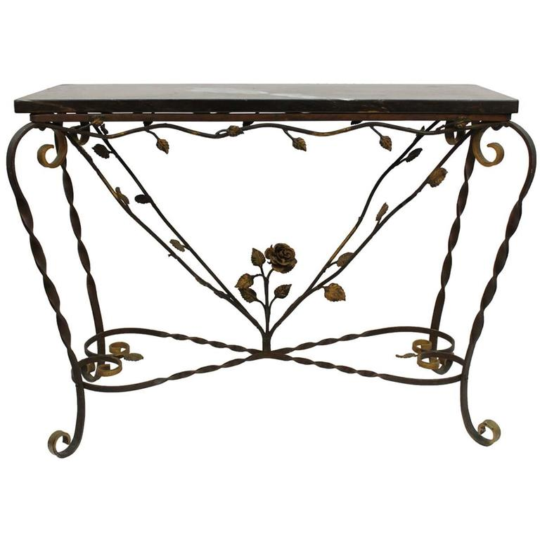 Accent Table with Black Marble Surface and Floral Motif