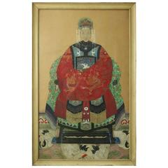 Antique Chinese Ancestral Portrait, Large & Finely Painted in Ink & Color