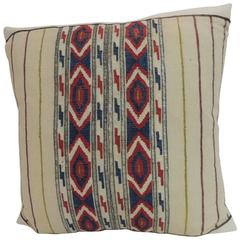 19th Century Turkish Embroidered Linen and Silk Decorative Pillow