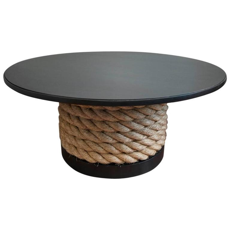 Steel and Rope Coffee Table on castors by Christopher Kreiling