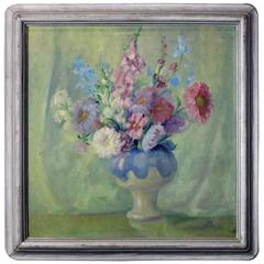 Antique Arts & Crafts Style Still Floral Still Life Oil on Canvas by Don A. Horn