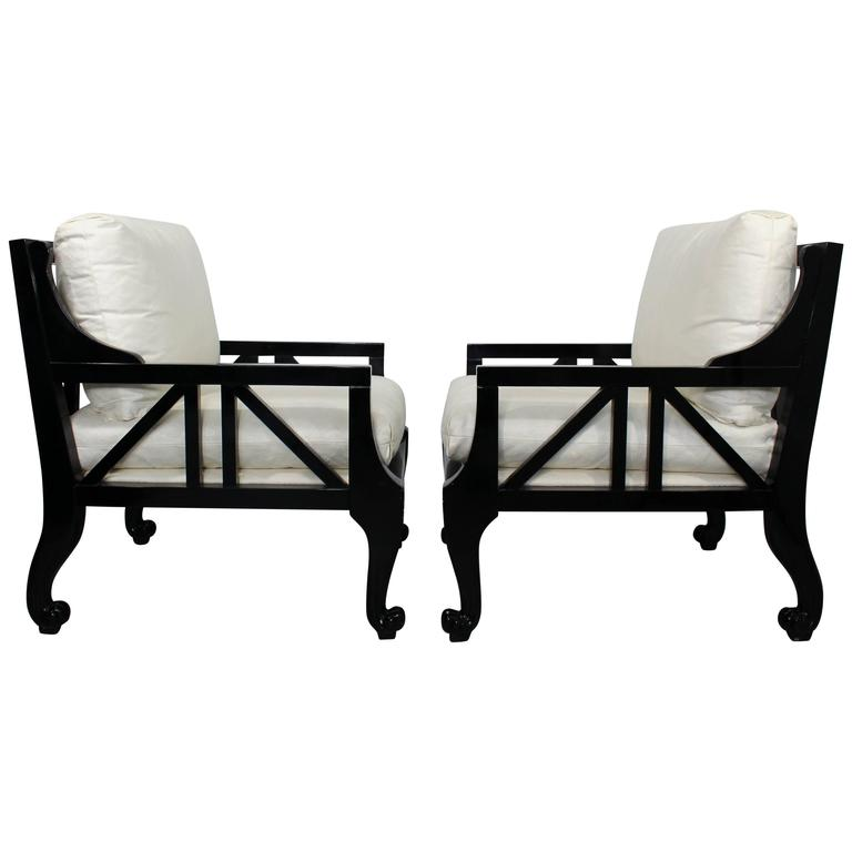 Mid-Century Modern Pair Style of Barbara Barry for Baker Black Lacquer Armchairs
