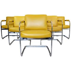 Mid-Century Modern Set of Six Milo Baughman Chrome Cantilever Dining Armchairs