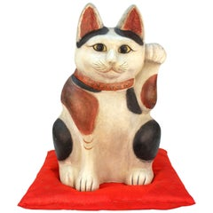 Extremely Rare and Large Japanese Clay of a Cat