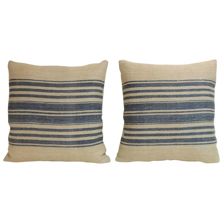 French Blue Throw Pillows : Pair of 19th Century French Blue Stripes Decorative Pillows at 1stdibs