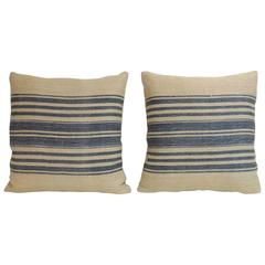 Pair of 19th Century French Blue Stripes Decorative Pillows