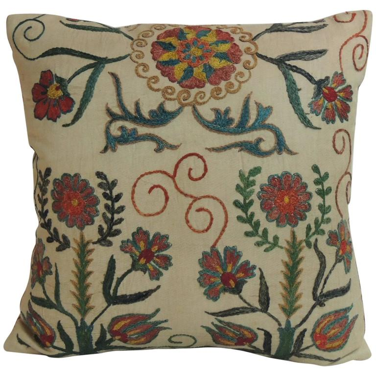 Vintage Decorative Pillow : Vintage Floral Suzani Embroidery Silk Decorative Pillow For Sale at 1stdibs