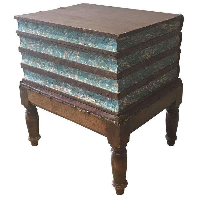 19th Century Faux Book Chest or End Table For Sale