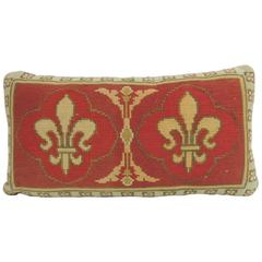 Vintage Fleur-de-Lis Orange and Green Tapestry Bolster Pillows