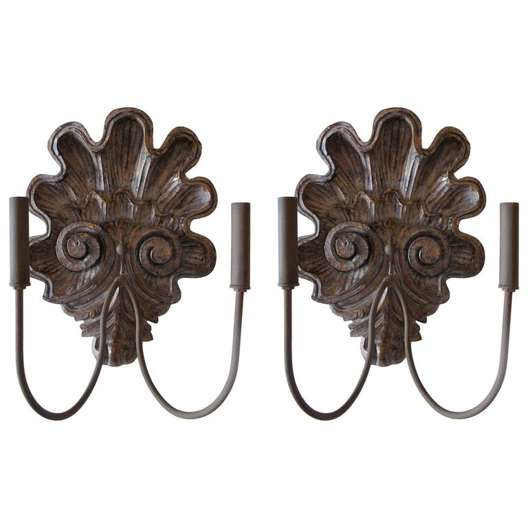 Pair of Hand-Carved Shell Sconces For Sale
