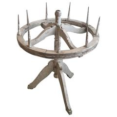 19th Century Painted Wood Round Candelabra