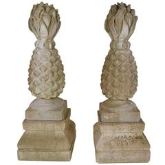 Pair of Large Carved Stone Garden Urns