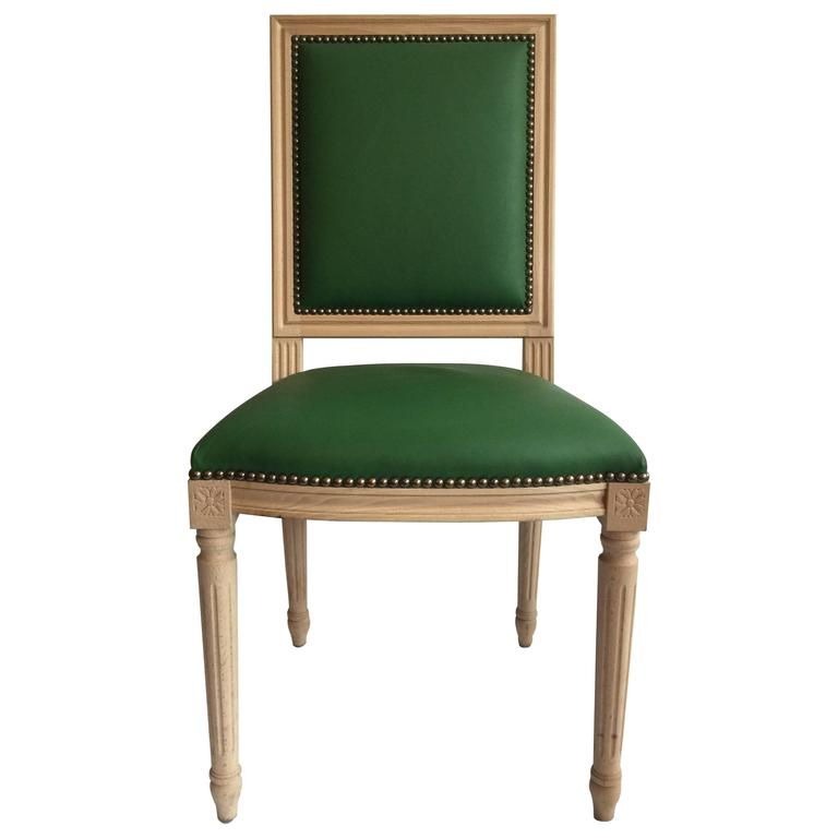 Louis XVI Style Dining or Side Chair in Green Leather For Sale