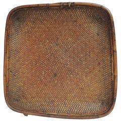 Vintage Large Square Indonesian Flat Fruit Basket with Bamboo Trim