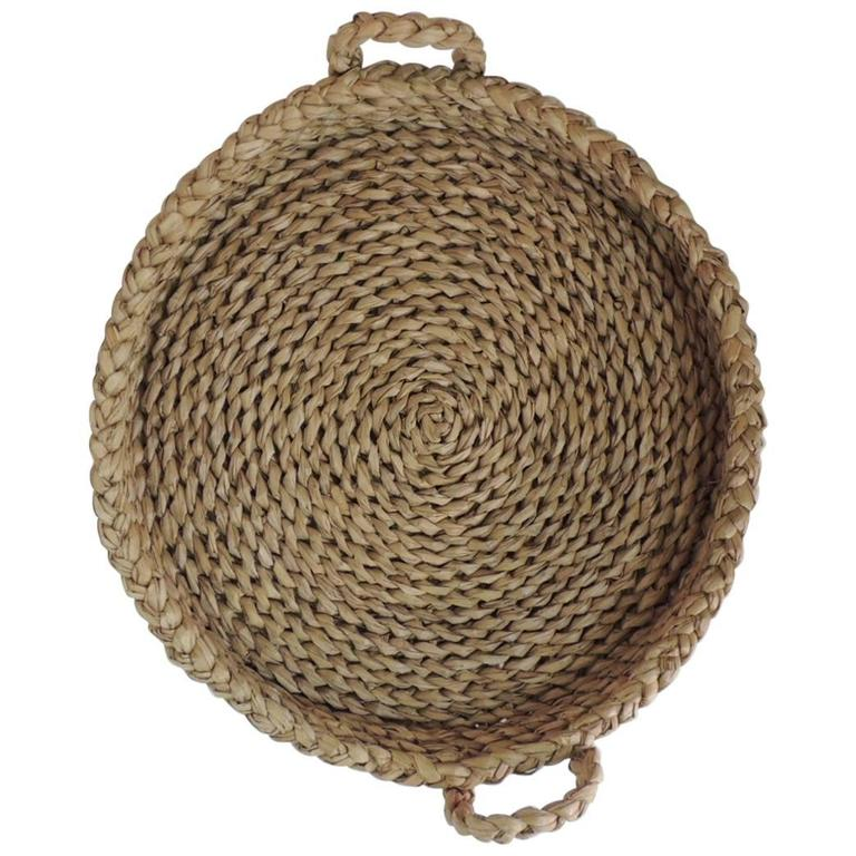 Round Philippines Seagrass Vintage Basket with Handles