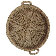 Monumental Round Philippines Seagrass Vintage Basket with Handles