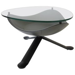 Matteo Grassi Italian Leather and Glass Side Table or Coffee Table
