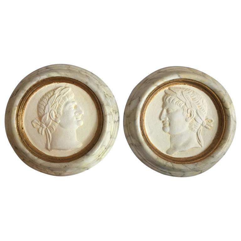 Pair of Roman Reliefs or Medallions For Sale