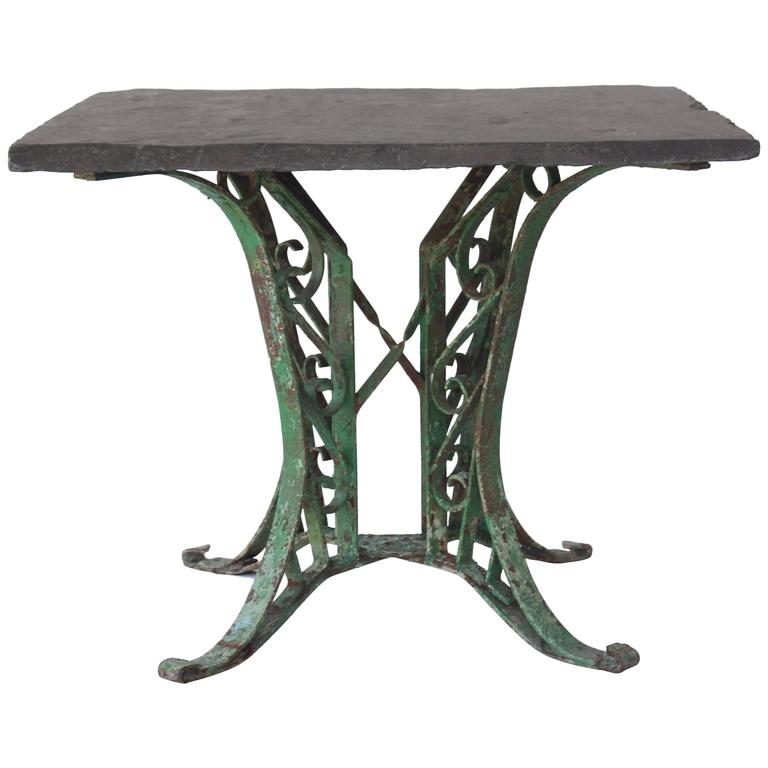 1920s French Slate Table with Painted Green Base For Sale