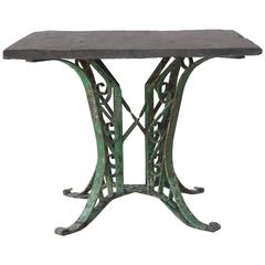 1920s French Slate Table with Painted Green Base