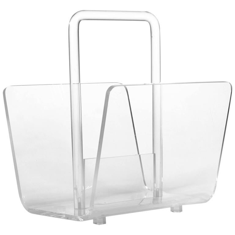 Lucite And Acrylic Magazine Rack Or Holder For Sale At 40stdibs Unique Acrylic Magazine Holder For Treadmill