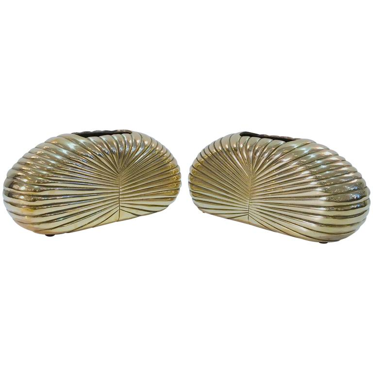 Pair of Grand Scale Brass Vases by Dolbi Cashier
