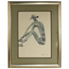 Seated Male Nude with Hat, an Ink and Watercolor Drawing by Janet Lippincott