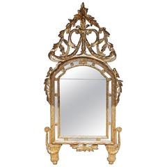 Italian Neoclassical Silver and Gold Gilt Foliage Wall Mirror, Circa 1770