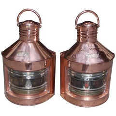 Pair of Anglo-Indian Copper and Brass Port & Starboard Ship Lanterns, Circa 1880