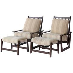 Charles Webb Pair of Reclining Armchairs and Ottomans
