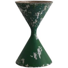 Willy Guhl Tall Hourglass Pot in Green Paint