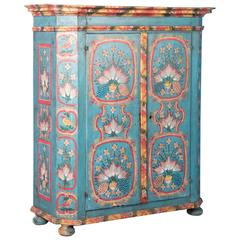 19th Century Antique German Double Door Armoire with Original Blue Paint